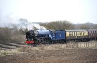 A1 Pacific no 60163 <I>Tornado</I> in the loop on the site of Challow Station on 21 March with the Peterborough - Bristol <I>Cathedrals Express</I>. The locomotive had made the stop to take on water from a nearby fire tender.<br><br>[Peter Todd&nbsp;21/03/2013]
