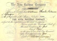 Share certificate issued by the Alva Railway Company dated 1 June 1864.<br><br>[Ian Dinmore&nbsp;22/08/2015]