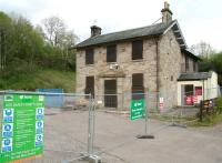 The secured station building at Gorebridge on 22 May 2013 - still looking remarkably well considering...!<br><br>[John Furnevel&nbsp;22/05/2013]