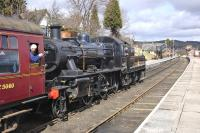 Ivatt 2MT no 46512 coasts into Boat of Garten with the 12.30 to Broomhill on 21 April 2013.<br><br>[Bill Roberton&nbsp;21/04/2013]