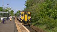 Super Sprinter 156499 pauses at Kilmaurs whilst working 1L55 Glasgow Central to Carlisle,<br><br>[Ken Browne&nbsp;25/05/2013]