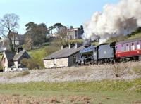 48151 forges towards Kents Bank on 13 April 2002 with the <I>Steam Along the Cumbrian Coast</I> railtour.<br><br>[Bill Jamieson&nbsp;13/04/2002]