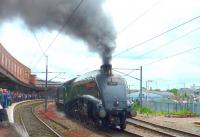 A well attended event at York station on 14 June 2013 featured the changeover between A4 Pacifics 4464 and 60009 on the late running Kings Cross - Perth <I>Cathedrals Express</I>.<br><br>[Vic Smith&nbsp;14/06/2013]