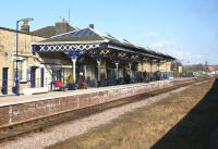 The single bi-directional platform serving Malton station, seen from a passing Scarborough to York service on 3 April 2013.<br><br>[John McIntyre&nbsp;03/04/2013]