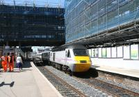 Changing face of Haymarket #2. The 09.52 Aberdeen - Kings Cross arrives at platform 1 on 17 May 2013.<br><br>[John Furnevel&nbsp;17/05/2013]