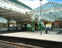 Part of the concourse and footbridge at Tynemouth station in June 2013. The station recently underwent a major refurbishment.<br><br>[Veronica Clibbery&nbsp;12/06/2013]