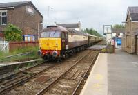 DRS 47832 is seen on the rear of a <I>Northern Belle</I> charter (from York to Bingley via Skipton, Carnforth and Hebden Bridge) passing through Bamber Bridge station heading east towards Blackburn on 16 June 2013.<br><br>[John McIntyre&nbsp;16/06/2013]