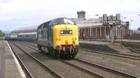 Deltic D9000 <I>Royal Scots Grey</I> running round Juniper 334030 at Kilmarnock station on 17 June following the EMU's refurbishment at at the nearby Brodie Rail Works.<br><br>[Ken Browne&nbsp;17/06/2013]