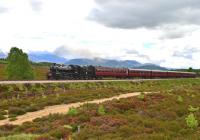On a nice bright afternoon Ivatt Class 2 No.46512 hauls the last train of the day up the long gradient out of Aviemore on the way to Broomhill on 15 June. The Cairngorms form the backdrop.<br><br>[John Gray&nbsp;15/06/2013]