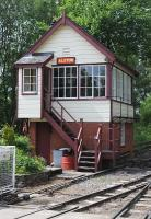 The tidy Signal Cabin at Alston, South Tynedale Railway. on 18th June 2013.<br><br>[Brian Taylor&nbsp;18/06/2013]