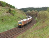 A trio of Royal Mail Class 325s at the start of the 10 mile descent towards Beattock, having just passed the summit on 3 June 2013. <br><br>[John McIntyre&nbsp;03/06/2013]