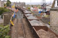 Track work in progress on the viaduct at the west end of Burntisland High Street on 22 June 2013. Train services were being diverted via Dunfermline over the weekend.<br><br>[Bill Roberton&nbsp;22/06/2013]