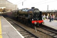 Having been to Carlisle via Settle with <I>The Fellsman</I> on 26 June 2013, 46115 <I>Scots Guardsman</I> waits to depart from Preston on the last leg to Lancaster.<br><br>[John McIntyre&nbsp;26/06/2013]