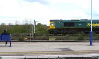 Freightliner 66540 <I>Ruby</I> passing one of her admirers on Didcot station in April 2013. <br><br>[Peter Todd 26/04/2013]