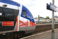 Front end of a regional DMU at Saintes Station on 20 June 2013.<br> <br><br>[Peter Todd&nbsp;20/06/2013]