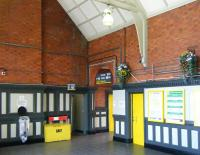 Part of the attractive concourse and station exit at New Brighton in June 2013. <br><br>[Veronica Clibbery&nbsp;19/06/2013]