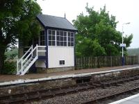 The freshly painted former signal box looking pristine on the northbound platform at Forsinard in June 2013. [See image 16558]<br><br>[David Pesterfield&nbsp;23/06/2013]