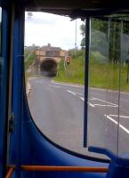 A bus passenger's view of the road bridge [see image 43348] at the exit to Trumpington Park and Ride site. The drivers on the guided busway all seem to be friendly and cheerful.<br><br>[Ken Strachan&nbsp;08/06/2013]