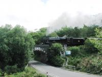 45407 takes the morning <I>Jacobite</I> westwards crossing the A830 on the approach to Beasdale station on 26 June 2013. Bury stablemate 44871 was also in use that day on the afternoon service. <br><br>[Malcolm Chattwood 26/06/2013]