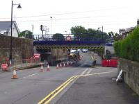 The new underbridge just south of Prestwick Town station seen from the west on 3 July - as yet unsullied by the attentions of the illiterati driving overheight vehicles. <br><br>[Colin Miller 03/07/2013]