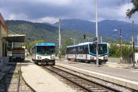 The Chemins de Fer de Provence is a 151 km long metre gauge line connecting Nice with Dignes-les-Bains in the department of Alpes-de-Haute-Provence. The photograph was taken at Lingostiere in the northern suburbs in September 2004 and shows two of the line's railcars - the slightly more modern one on the right is X305, which was built in 1977.<br><br>[Bill Jamieson&nbsp;01/09/2004]