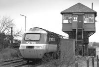 A southbound BR InterCity 125 HST passing Fencehouses 'box on the Leamside line on 18 March 1989, having been diverted due to ECML electrification works. The train is the 07.35 Aberdeen - Kings Cross.<br><br>[Bill Roberton&nbsp;18/03/1989]