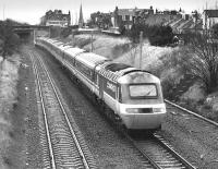 The 15.10 from Edinburgh to Kings Cross passes what would become Brunstane Station on a diversion via Millerhill because of bridge work on the ECML, on 4 February 1989.<br><br>[Bill Roberton&nbsp;04/02/1989]