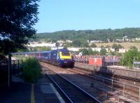The 18.00 <I>Torbay Express</I> approaches Bath, 11 minutes down. The leading power car is 43156, <I>Darlington International Summer School</I>, and yes, I was wearing an anorak - how did you guess?<br><br>[Ken Strachan 06/07/2013]