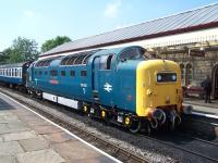 Deltic 55022 <I>Royal Scots Grey</I> with a train at Ramsbottom on 6 July 2013 during the ELR Diesel Gala.<br><br>[Colin Alexander&nbsp;06/07/2013]
