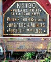 Names to conjure with. Combination image showing the makers plates attached to the Whitaker steam crane and pony truck on display at Prestongrange Industrial Heritage Museum in September 2012.<br><br>[John Furnevel&nbsp;19/09/2012]