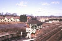 The LBSCR station at Lingfield on the East Grinstead line in March 1986. View is north, with the former banana ripening sheds in the background. [With thanks to Messrs Ehrsam, Leiper, Morrison and Prestonian]<br><br>[Ian Dinmore&nbsp;/03/1986]