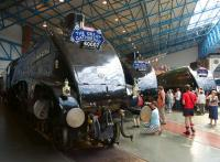 Numbers 7, 8 and 9 lined up together in the Great Hall of the NRM on 13 July 2013 sporting suitable headboards to commemorate <I>The Great Gathering</I>. [See image 43776]<br><br>[John McIntyre&nbsp;13/07/2013]