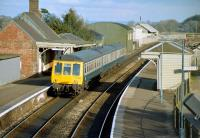 A 3-car DMU calls at Crediton with a Barnstaple - Exeter service in 1983.<br><br>[Ian Dinmore&nbsp;//1983]