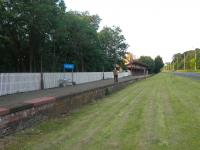 The surviving platform at Melrose, looking east towards Ravenswood Junction on 5 July, with the A6091 running past on the right. The Tweedbank terminus of the Borders Railway will be located approximately a mile and a half to the west of here.<br><br>[John Yellowlees 05/07/2013]