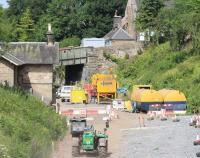 A hot and dusty scene at Gorebridge station site on 18 July looking north towards the bridge carrying Station Road.<br><br>[John Furnevel&nbsp;18/07/2013]