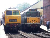Hymek Type 3 D7076 stands alongside Brush Type 2 D5613 at Bury Bolton Street on 6 July 2013.<br><br>[Colin Alexander&nbsp;06/07/2013]