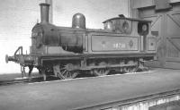 One of the Newcastle Central station pilots, J72 0-6-0T no 68736, painted in LNER green. Photographed in the Pacific shed at Gateshead in the early 1960s. [See image 40715]<br><br>[K A Gray&nbsp;//]