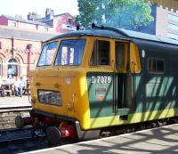 Hymek D7076 looking a little the worse for wear at Bury Bolton Street on 6 July.<br><br>[Colin Alexander&nbsp;06/07/2013]