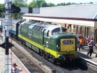 Deltic D9009 <I>Alycidon</I> with a train at Ramsbottom on 7 July during the ELR diesel gala.<br><br>[Colin Alexander&nbsp;07/07/2013]