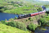 K1 No.62005 crossing the causeway at the south end of Loch Dubh near Lochailort on 19 July 2013 with the Mallaig bound <I>Jacobite</I>.<br><br>[John Gray&nbsp;19/07/2013]