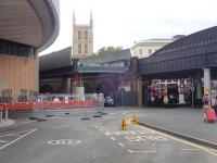 The new viaduct being constructed over Borough Market currently comes to a sudden end outside London Bridge station. View north on 20 July 2013 with the tower of Southwark Cathedral prominent in the background. [See image 43904]. <br><br>[John Thorn&nbsp;20/07/2013]