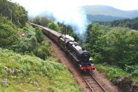 Black 5 No.44871 tackles the 1 in 60 gradient up to Glenfinnan Viaduct on 22 July with the seven coach morning <I>Jacobite</I> service to Mallaig.<br><br>[John Gray&nbsp;22/07/2013]