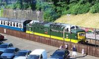 View across the car park at Bury Bolton Street on 7 July with Deltic D9009 <I>Alycidon</I> at the platform.<br><br>[Colin Alexander&nbsp;07/07/2013]