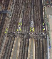 Temporary speed restrictions in place on the <I>South London</I> platforms at London Bridge station on 20 July 2013, during works in connection with the Borough Market widening project. [See image 43904]<br><br>[John Thorn&nbsp;20/07/2013]