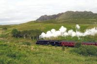 <I>Black 5</I> 44871 heading the afternoon <I>Jacobite</I> towards Mallaig in June 2013 amidst scenery typical of the western end of this line. <br><br>[Malcolm Chattwood&nbsp;26/06/2013]
