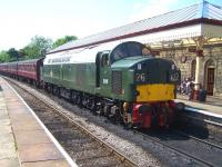 EE Type 4 no D335 with a train at Ramsbottom station on 6 July 2013 during the ELR diesel gala weekend.<br><br>[Colin Alexander&nbsp;06/07/2013]