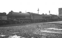 B16 4-6-0 no 61414 and friends in the yard at Neville Hill shed, Leeds, in the spring of 1960.<br><br>[K A Gray&nbsp;20/03/1960]