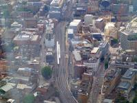 View west over Metropolitan Junction from The Shard on 20 July. Trains are passing on the lines running to Waterloo East and Charing Cross, while turning off to the right are the lines to Blackfriars Junction. Also heading for Blackfriars Junction are the lines from Elephant & Castle on the LCDR route - seen crossing the L&G formation in the centre background. The combined route will then cross the Thames on Blackfrars Bridge just off picture top right.<br><br>[John Thorn&nbsp;20/07/2013]