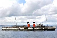 PS <I>Waverley</I> nears Largs pier on 30 July 2013.<br><br>[Bill Roberton&nbsp;30/07/2013]