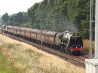 The <I>Cumbrian Mountain Express</I> railtour from Liverpool to Carlisle on 27 July 2013 on the return leg with 46233 <I>Duchess of Sutherland</I> displaying the <I>Royal Scot</I> headboard heading south on the WCML at Brock. <br><br>[John McIntyre&nbsp;27/07/2013]